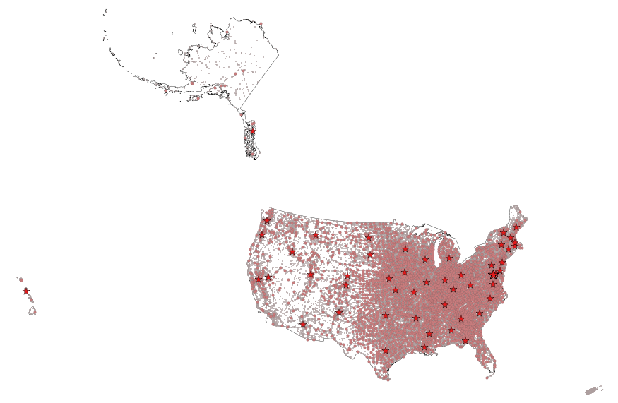 USGS Smallscale Dataset Cities And Towns Of The United States - Us map shapefile