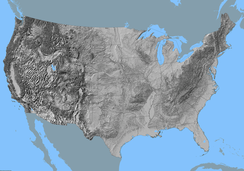 USGS Smallscale Dataset Grayscale Conterminous United States - Grayscale height map us