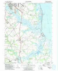 Download a high-resolution, GPS-compatible USGS topo map for Frederica, DE (1993 edition)