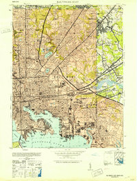 Download a high-resolution, GPS-compatible USGS topo map for Baltimore East, MD (1953 edition)